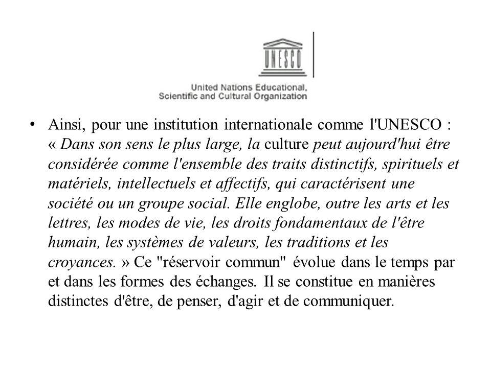 Ainsi, pour une institution internationale comme l'UNESCO : « Dans son sens le plus large, la culture peut aujourd'hui être considérée comme l'ensembl