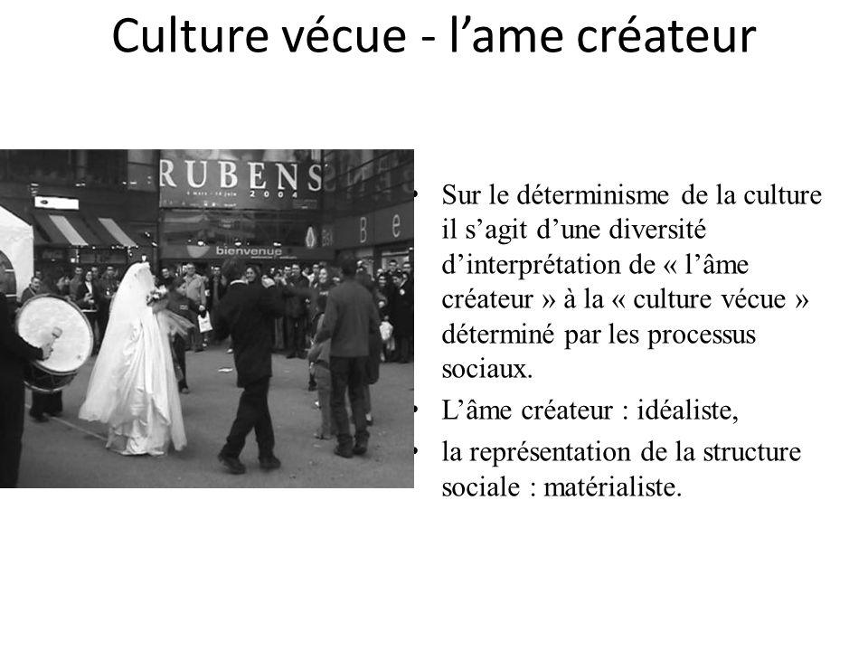 Culture vécue - lame créateur Sur le déterminisme de la culture il sagit dune diversité dinterprétation de « lâme créateur » à la « culture vécue » dé