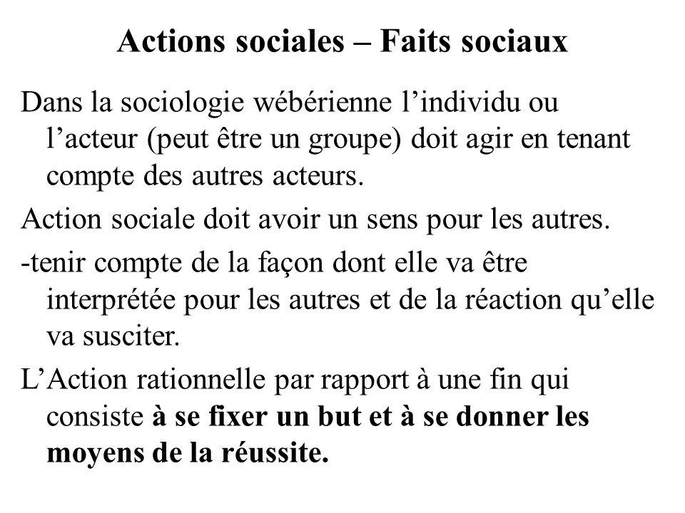Actions sociales – Faits sociaux Dans la sociologie wébérienne lindividu ou lacteur (peut être un groupe) doit agir en tenant compte des autres acteur