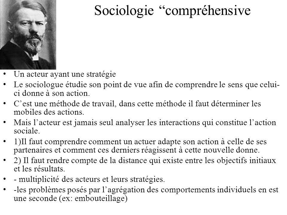 Sociologie compréhensive Un acteur ayant une stratégie Le sociologue étudie son point de vue afin de comprendre le sens que celui- ci donne à son acti