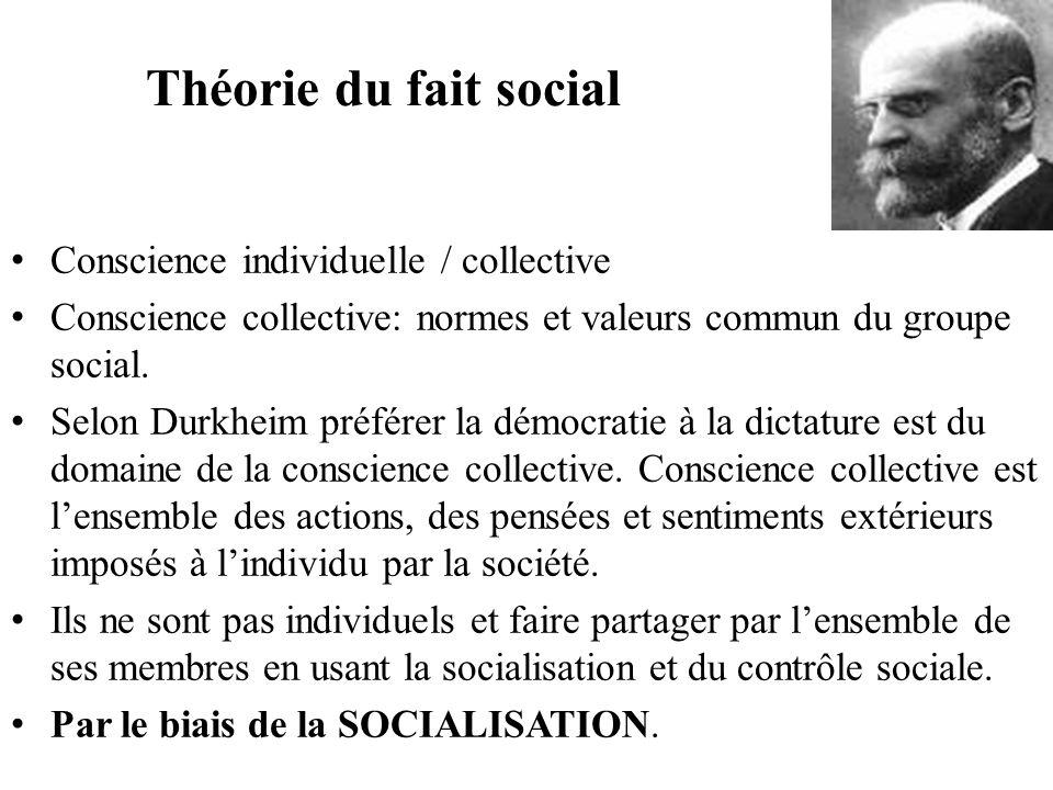 Théorie du fait social Conscience individuelle / collective Conscience collective: normes et valeurs commun du groupe social. Selon Durkheim préférer