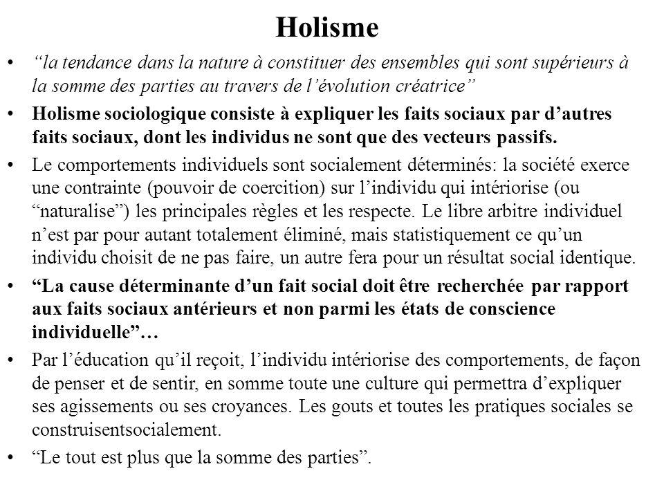 Holisme la tendance dans la nature à constituer des ensembles qui sont supérieurs à la somme des parties au travers de lévolution créatrice Holisme so