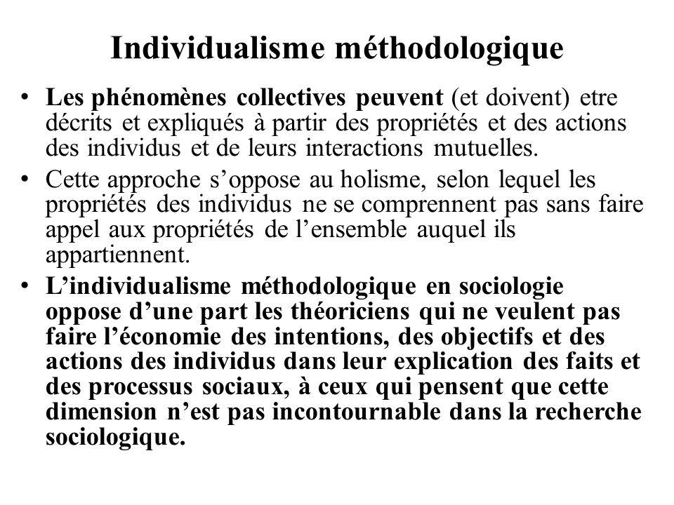 Individualisme méthodologique Les phénomènes collectives peuvent (et doivent) etre décrits et expliqués à partir des propriétés et des actions des ind
