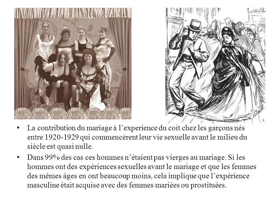 La contribution du mariage à lexperience du coit chez les garçons nés entre 1920-1929 qui commencèrent leur vie sexuelle avant le milieu du siècle est quasi nulle.