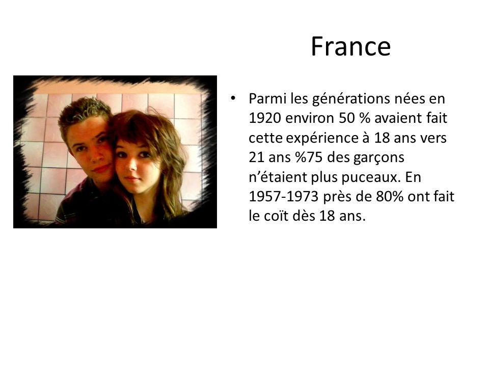 France Parmi les générations nées en 1920 environ 50 % avaient fait cette expérience à 18 ans vers 21 ans %75 des garçons nétaient plus puceaux.