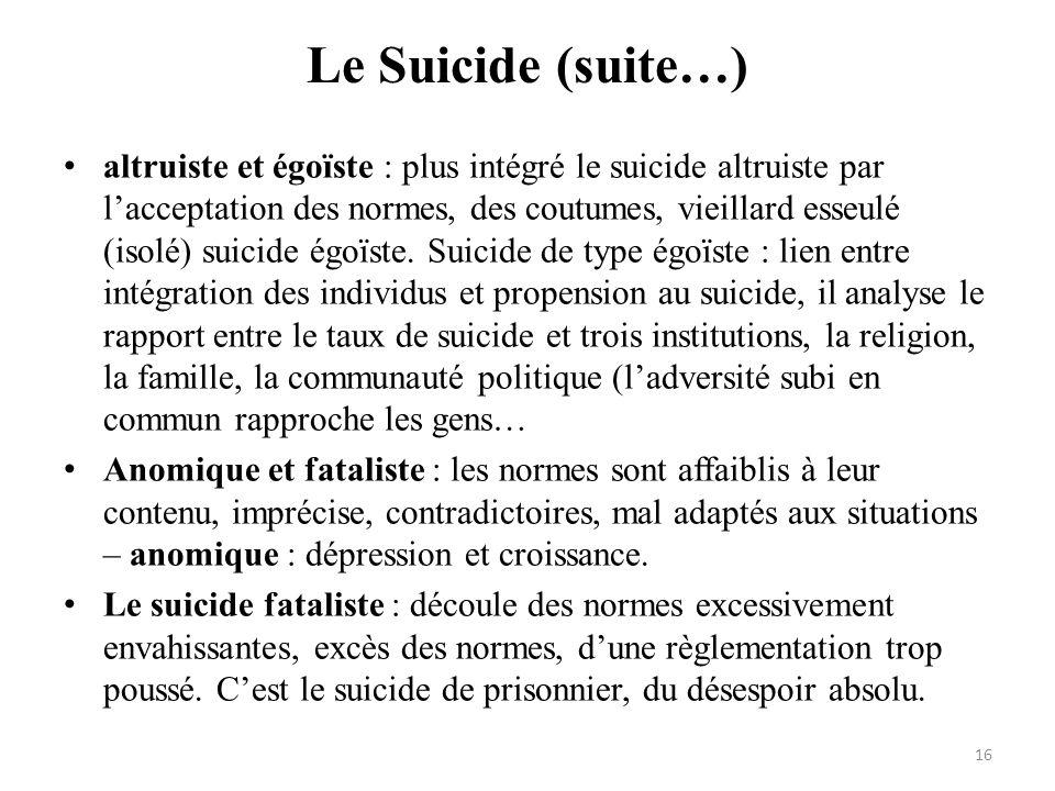Le Suicide (suite…) altruiste et égoïste : plus intégré le suicide altruiste par lacceptation des normes, des coutumes, vieillard esseulé (isolé) suic