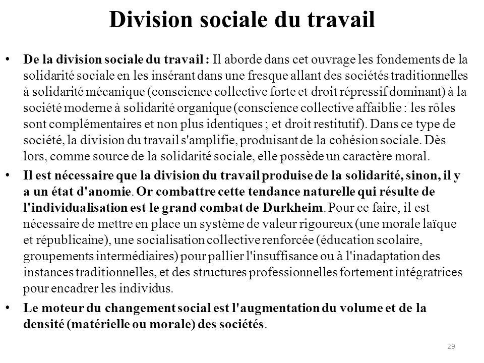 Division sociale du travail De la division sociale du travail : Il aborde dans cet ouvrage les fondements de la solidarité sociale en les insérant dan