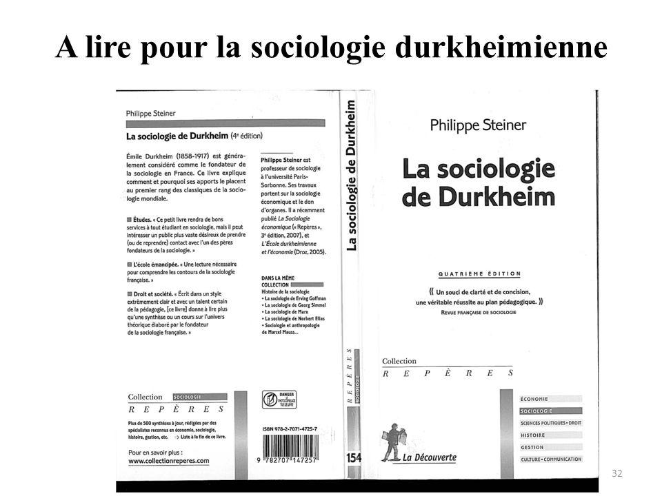 A lire pour la sociologie durkheimienne 32
