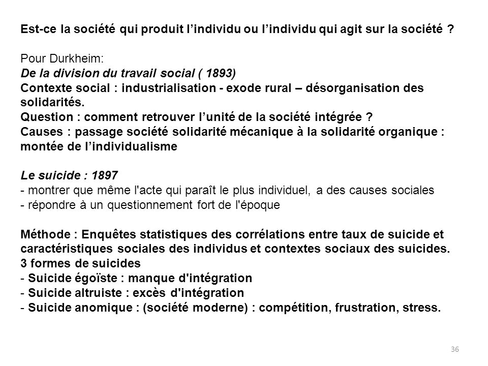 Est-ce la société qui produit lindividu ou lindividu qui agit sur la société ? Pour Durkheim: De la division du travail social ( 1893) Contexte social