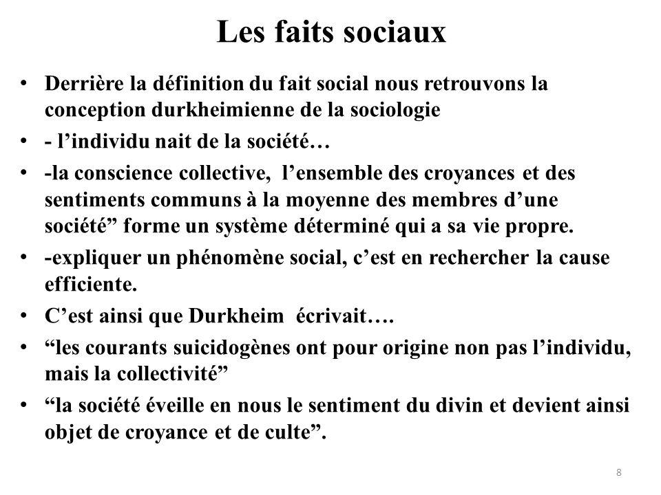 Les faits sociaux Derrière la définition du fait social nous retrouvons la conception durkheimienne de la sociologie - lindividu nait de la société… -