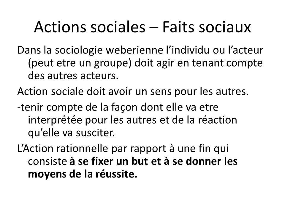 Actions sociales – Faits sociaux Dans la sociologie weberienne lindividu ou lacteur (peut etre un groupe) doit agir en tenant compte des autres acteur