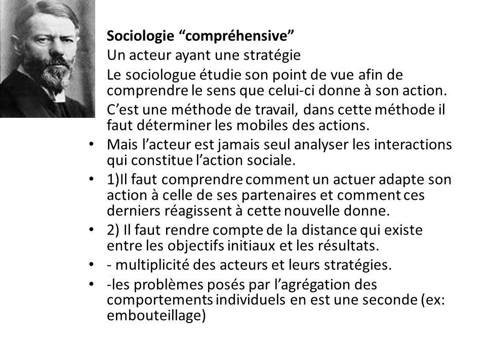 Sociologie compréhensive Un acteur ayant une stratégie Le sociologue étudie son point de vue afin de comprendre le sens que celui-ci donne à son actio