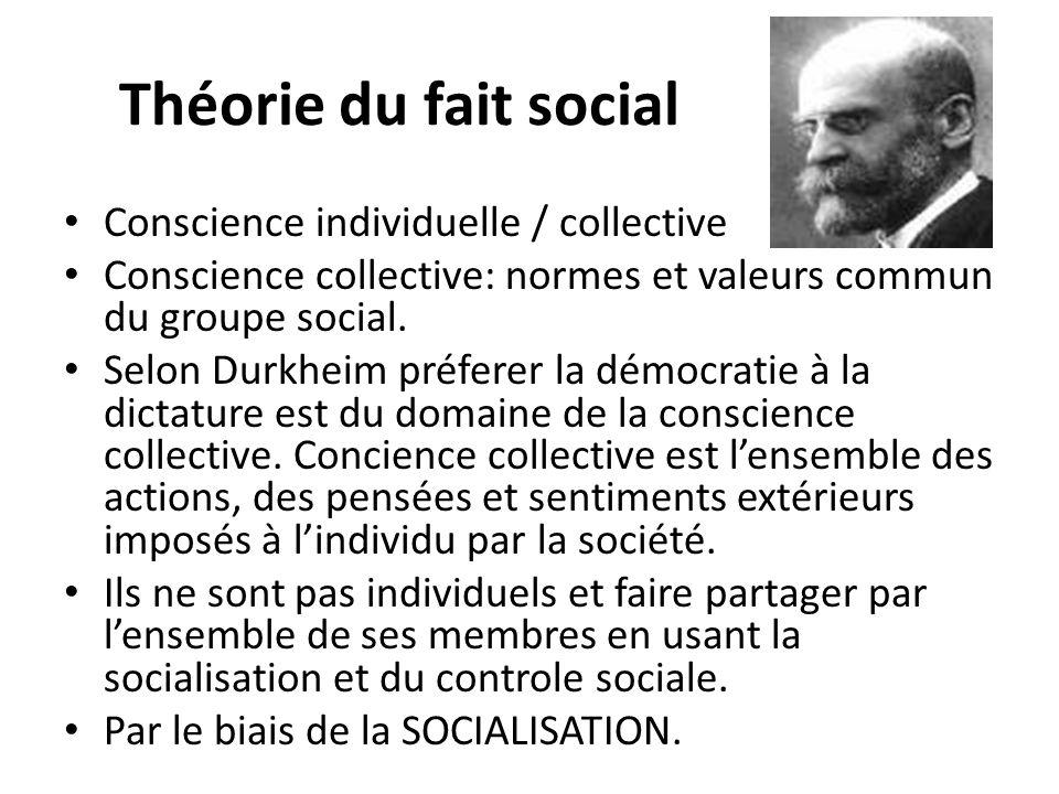 Théorie du fait social Conscience individuelle / collective Conscience collective: normes et valeurs commun du groupe social. Selon Durkheim préferer