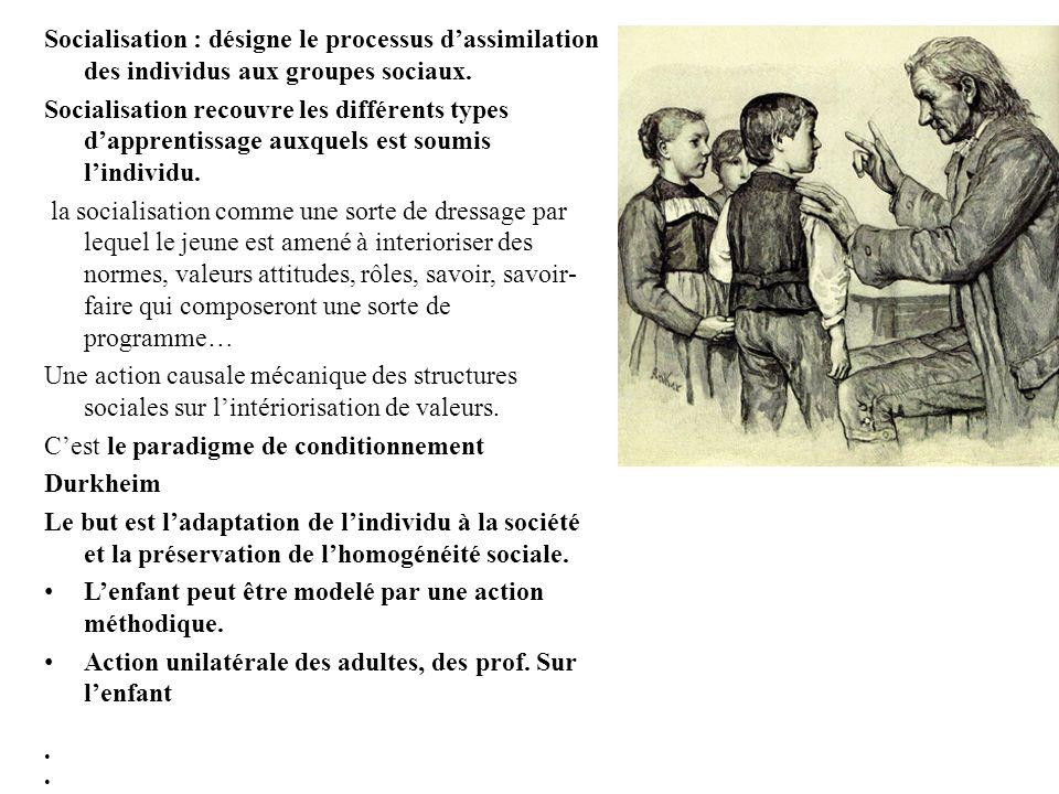 Socialisation : désigne le processus dassimilation des individus aux groupes sociaux. Socialisation recouvre les différents types dapprentissage auxqu