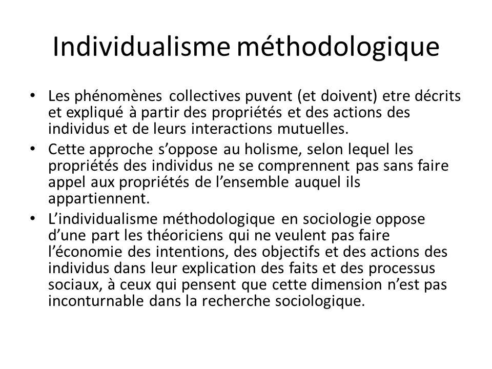 Individualisme méthodologique Les phénomènes collectives puvent (et doivent) etre décrits et expliqué à partir des propriétés et des actions des indiv