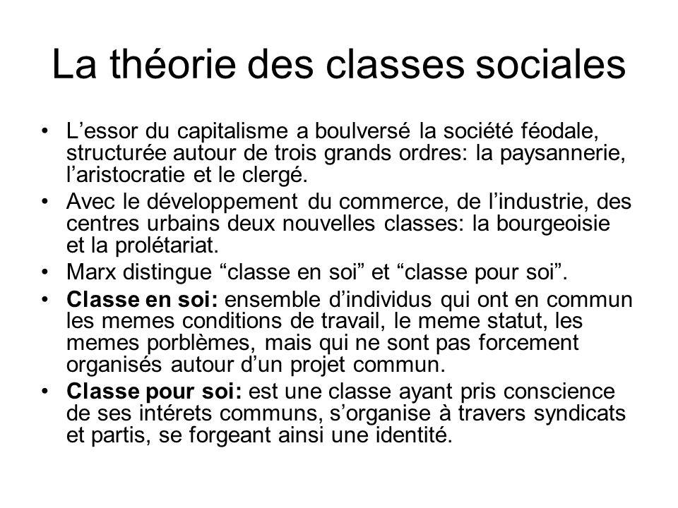 La théorie des classes sociales Lessor du capitalisme a boulversé la société féodale, structurée autour de trois grands ordres: la paysannerie, laristocratie et le clergé.