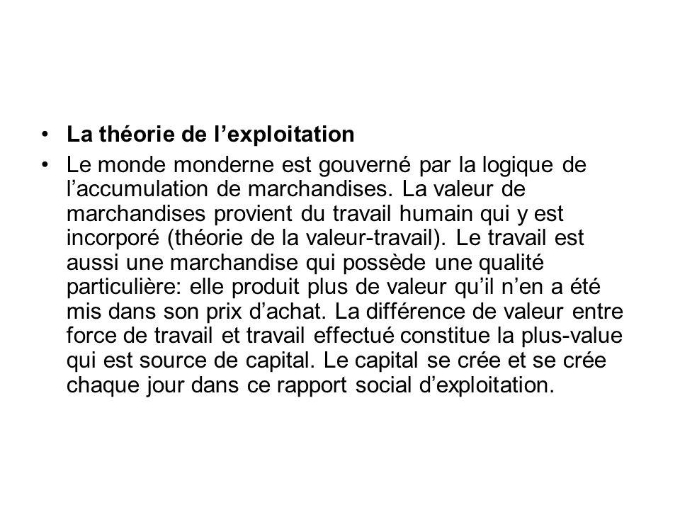La théorie de lexploitation Le monde monderne est gouverné par la logique de laccumulation de marchandises. La valeur de marchandises provient du trav
