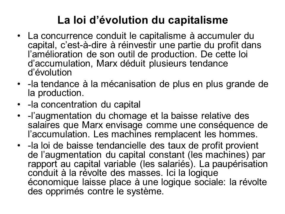 La loi dévolution du capitalisme La concurrence conduit le capitalisme à accumuler du capital, cest-à-dire à réinvestir une partie du profit dans lamélioration de son outil de production.