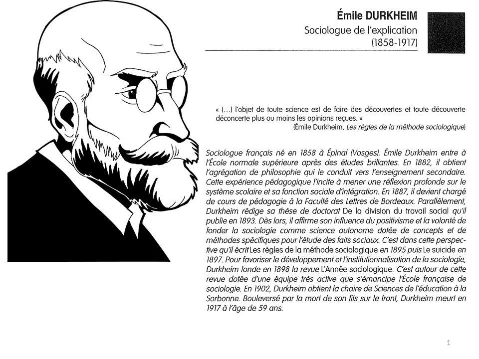 Emile Durkheim (1857-1917): Emile Durkheim est considéré comme le fondateur de la sociologie moderne pour avoir réussi à associer la théorie et la recherche empirique.