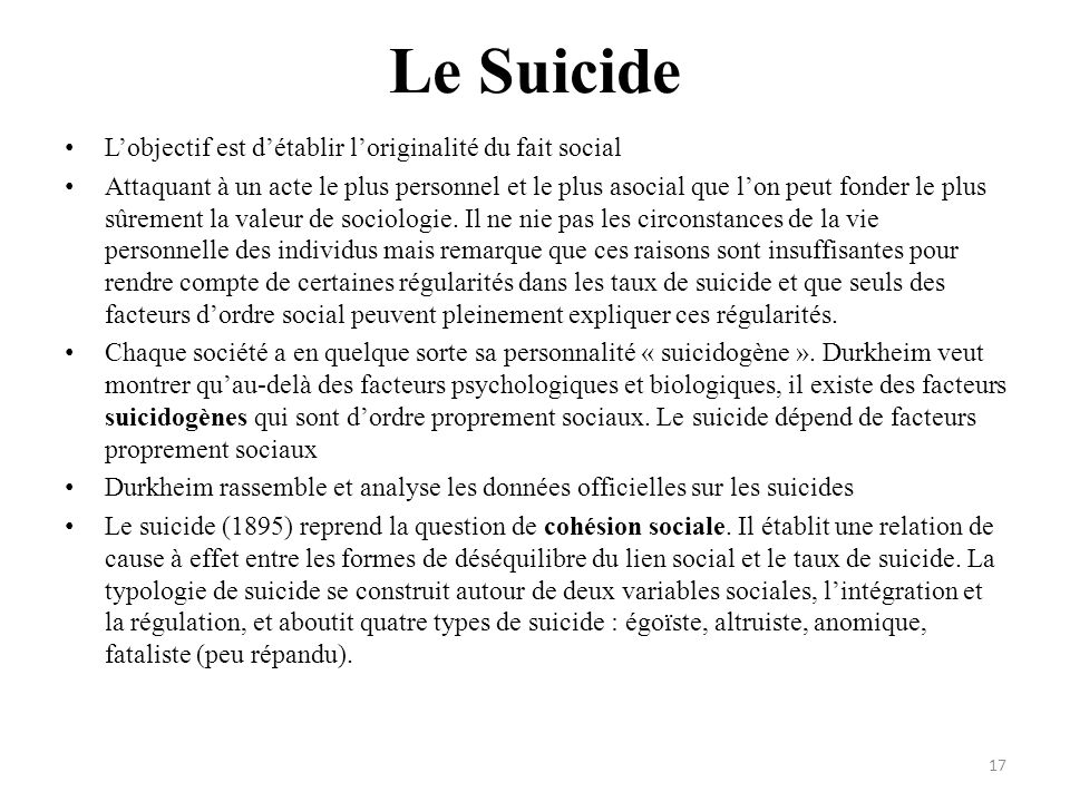 Le Suicide Lobjectif est détablir loriginalité du fait social Attaquant à un acte le plus personnel et le plus asocial que lon peut fonder le plus sûr