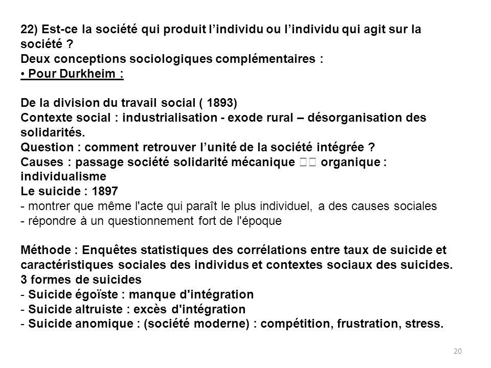 22) Est-ce la société qui produit lindividu ou lindividu qui agit sur la société ? Deux conceptions sociologiques complémentaires : Pour Durkheim : De
