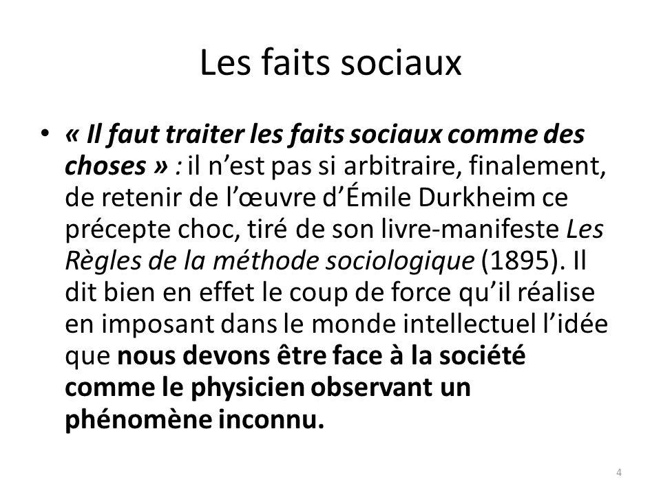 Les faits sociaux «Il faut traiter les faits sociaux comme des choses»: il nest pas si arbitraire, finalement, de retenir de lœuvre dÉmile Durkheim ce