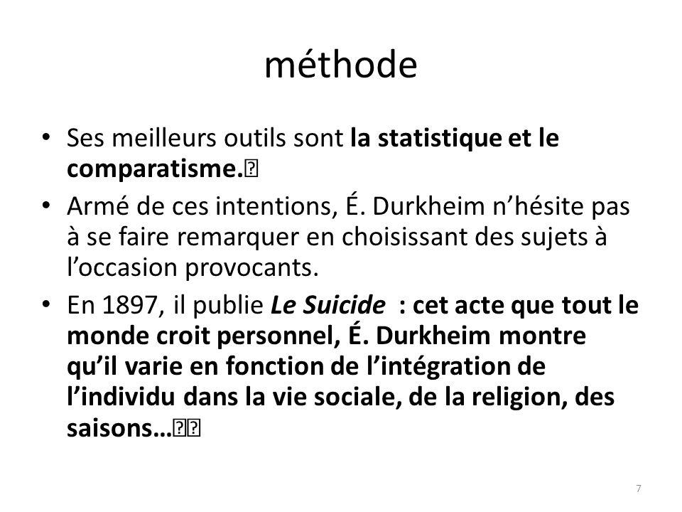 suicide altruiste et égoiste : plus intégré le suicide altruiste par lacceptation des normes, des coutumes, vieillard esseulé (isolé) sucide égoiste.