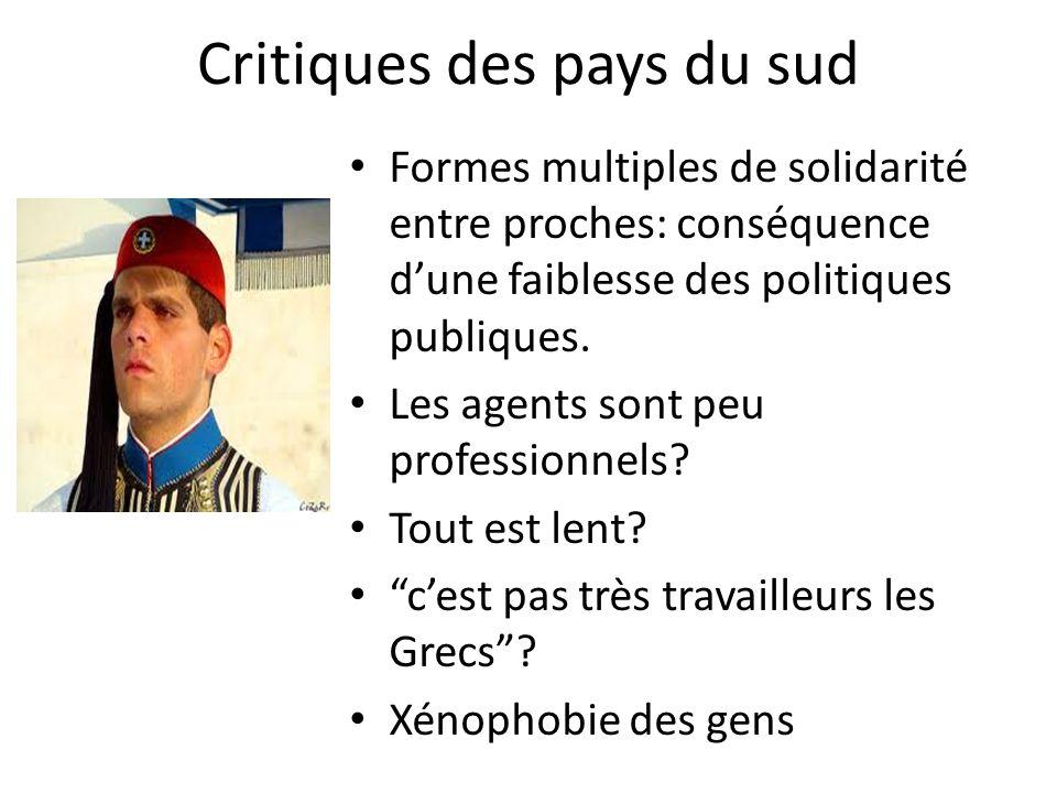 Critiques des pays du sud Formes multiples de solidarité entre proches: conséquence dune faiblesse des politiques publiques.