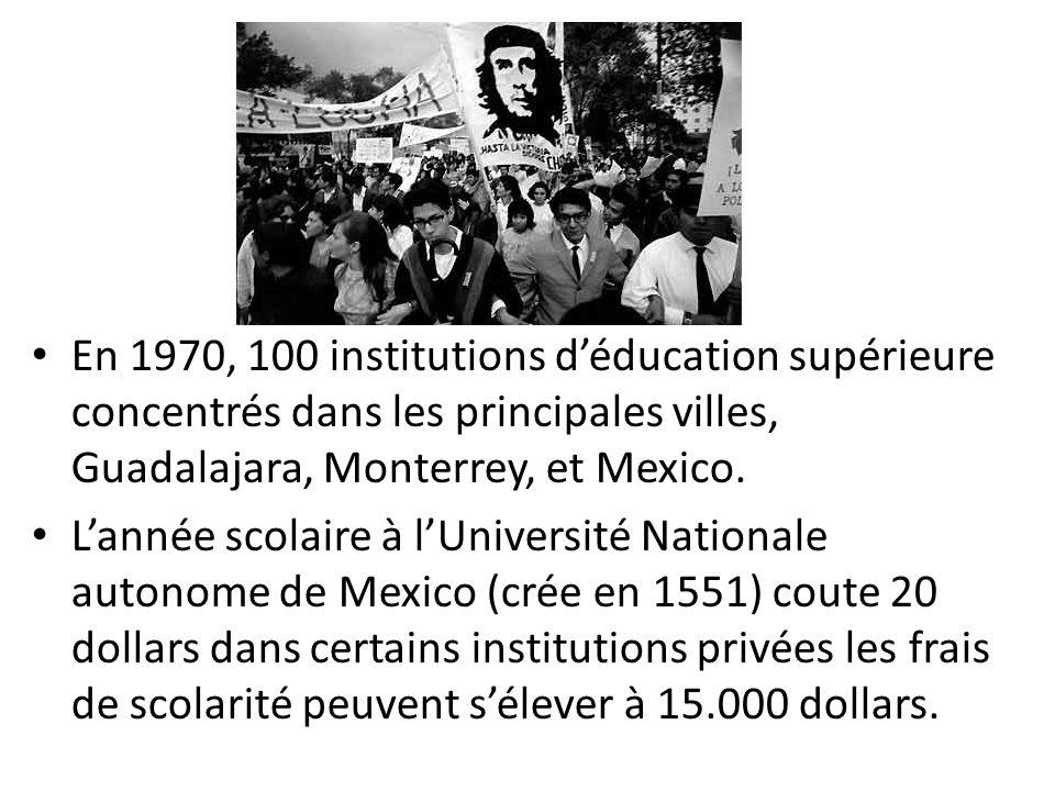 En 1970, 100 institutions déducation supérieure concentrés dans les principales villes, Guadalajara, Monterrey, et Mexico.