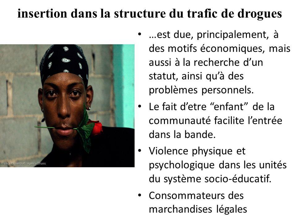 insertion dans la structure du trafic de drogues …est due, principalement, à des motifs économiques, mais aussi à la recherche dun statut, ainsi quà des problèmes personnels.