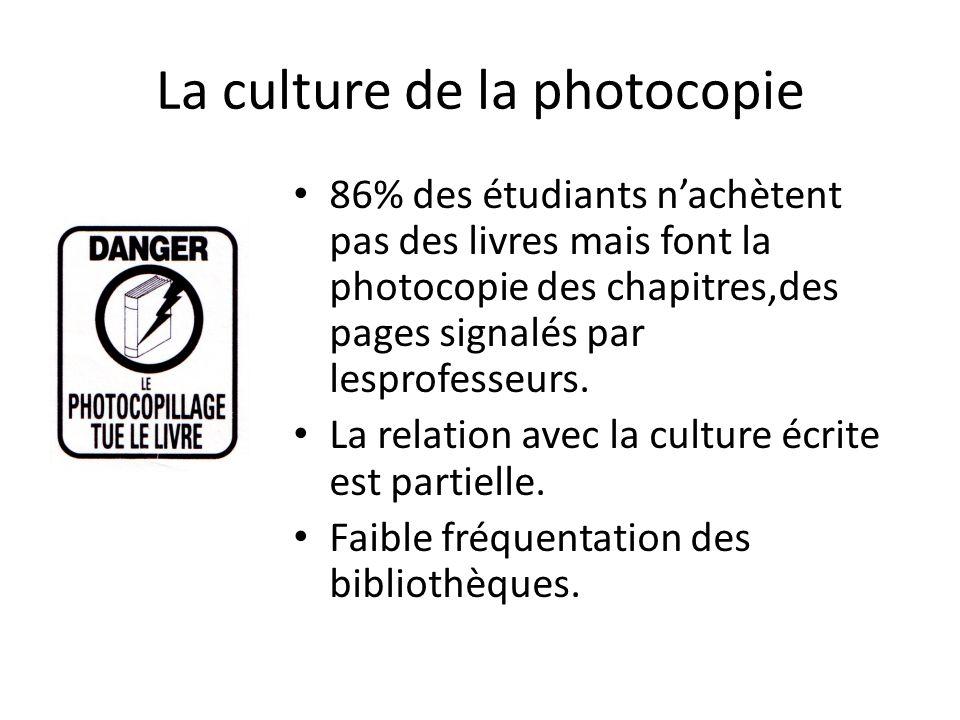 La culture de la photocopie 86% des étudiants nachètent pas des livres mais font la photocopie des chapitres,des pages signalés par lesprofesseurs.