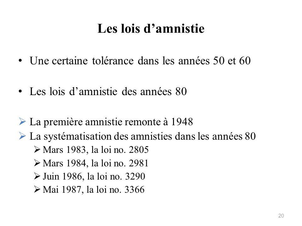 Les lois damnistie Une certaine tolérance dans les années 50 et 60 Les lois damnistie des années 80 La première amnistie remonte à 1948 La systématisa