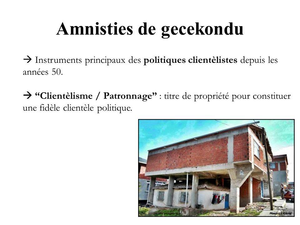 Amnisties de gecekondu Instruments principaux des politiques clientèlistes depuis les années 50. Clientèlisme / Patronnage : titre de propriété pour c