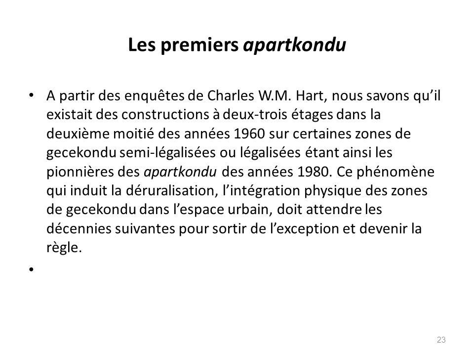 Les premiers apartkondu A partir des enquêtes de Charles W.M. Hart, nous savons quil existait des constructions à deux-trois étages dans la deuxième m