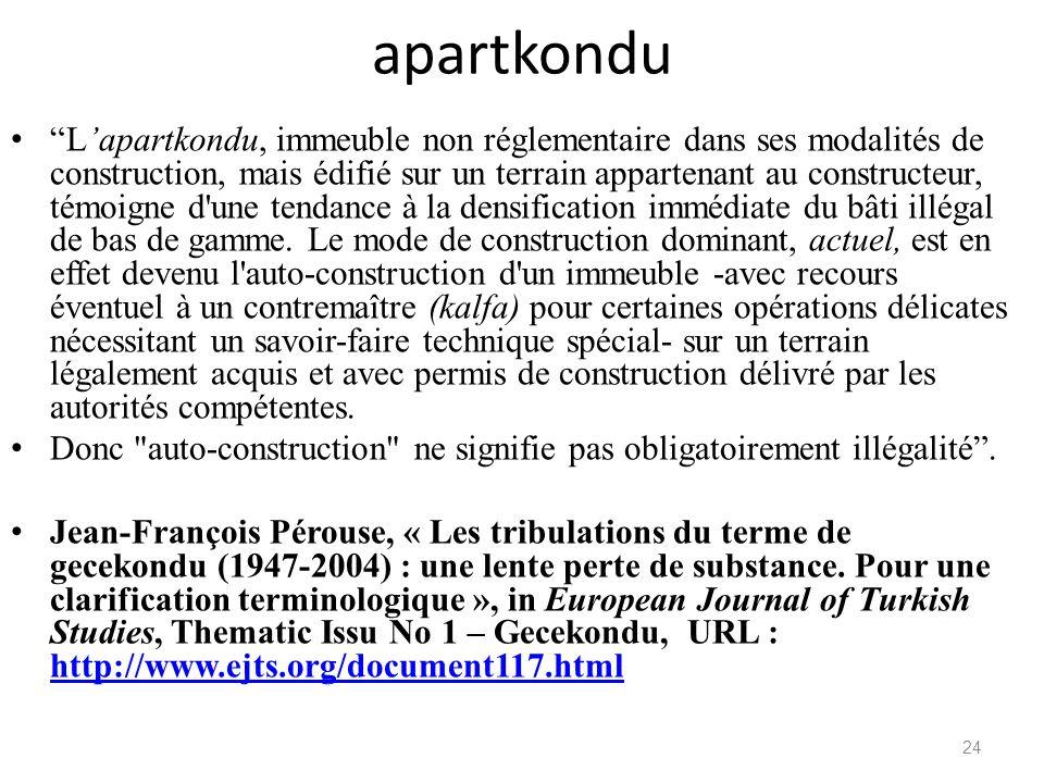 apartkondu Lapartkondu, immeuble non réglementaire dans ses modalités de construction, mais édifié sur un terrain appartenant au constructeur, témoign