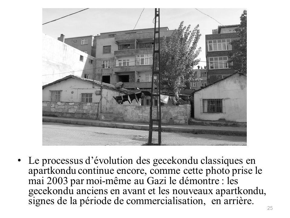 Le processus dévolution des gecekondu classiques en apartkondu continue encore, comme cette photo prise le mai 2003 par moi-même au Gazi le démontre :