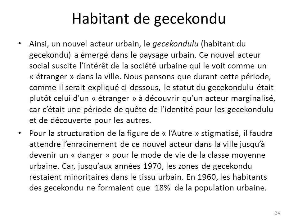 Habitant de gecekondu Ainsi, un nouvel acteur urbain, le gecekondulu (habitant du gecekondu) a émergé dans le paysage urbain. Ce nouvel acteur social