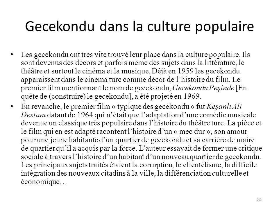 Gecekondu dans la culture populaire Les gecekondu ont très vite trouvé leur place dans la culture populaire. Ils sont devenus des décors et parfois mê