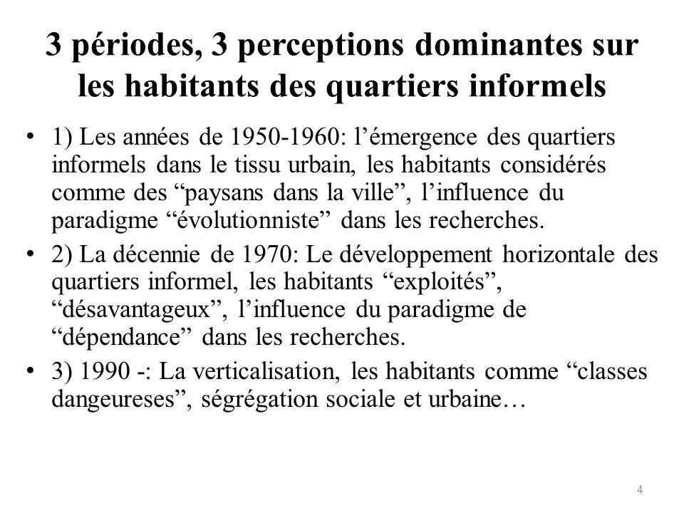 3 périodes, 3 perceptions dominantes sur les habitants des quartiers informels 1) Les années de 1950-1960: lémergence des quartiers informels dans le