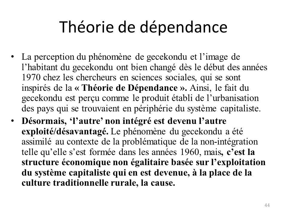 Théorie de dépendance La perception du phénomène de gecekondu et limage de lhabitant du gecekondu ont bien changé dès le début des années 1970 chez le