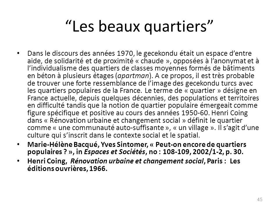 Les beaux quartiers Dans le discours des années 1970, le gecekondu était un espace dentre aide, de solidarité et de proximité « chaude », opposées à l