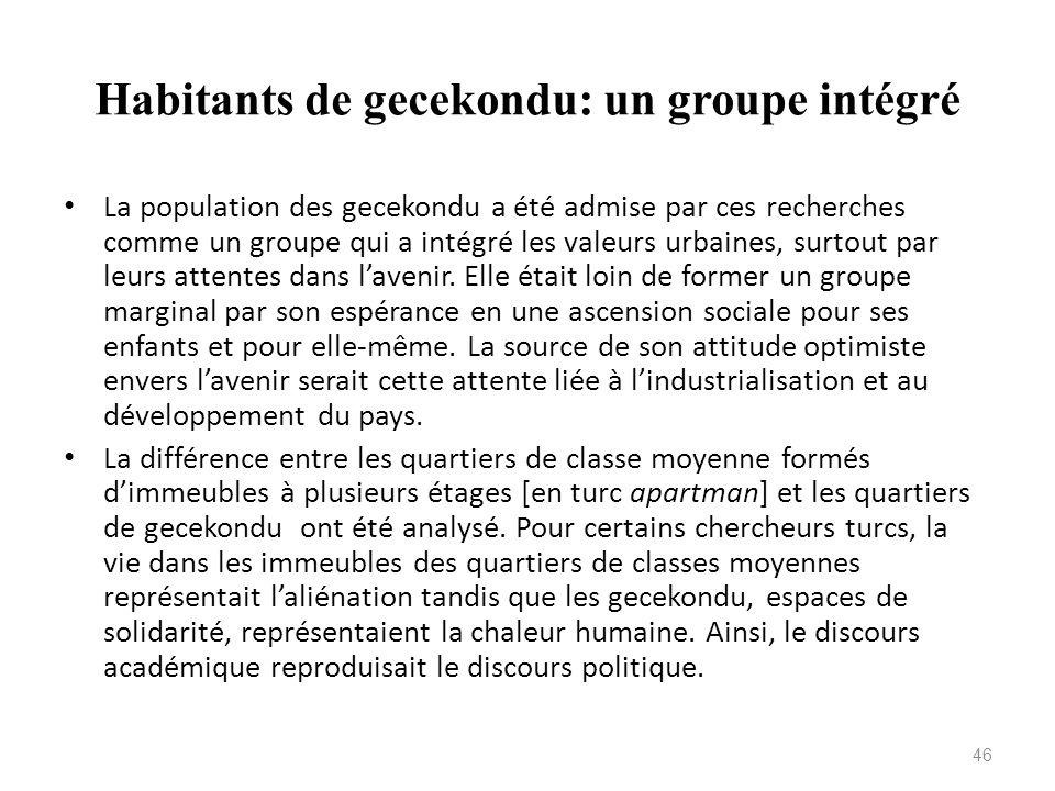 Habitants de gecekondu: un groupe intégré La population des gecekondu a été admise par ces recherches comme un groupe qui a intégré les valeurs urbain