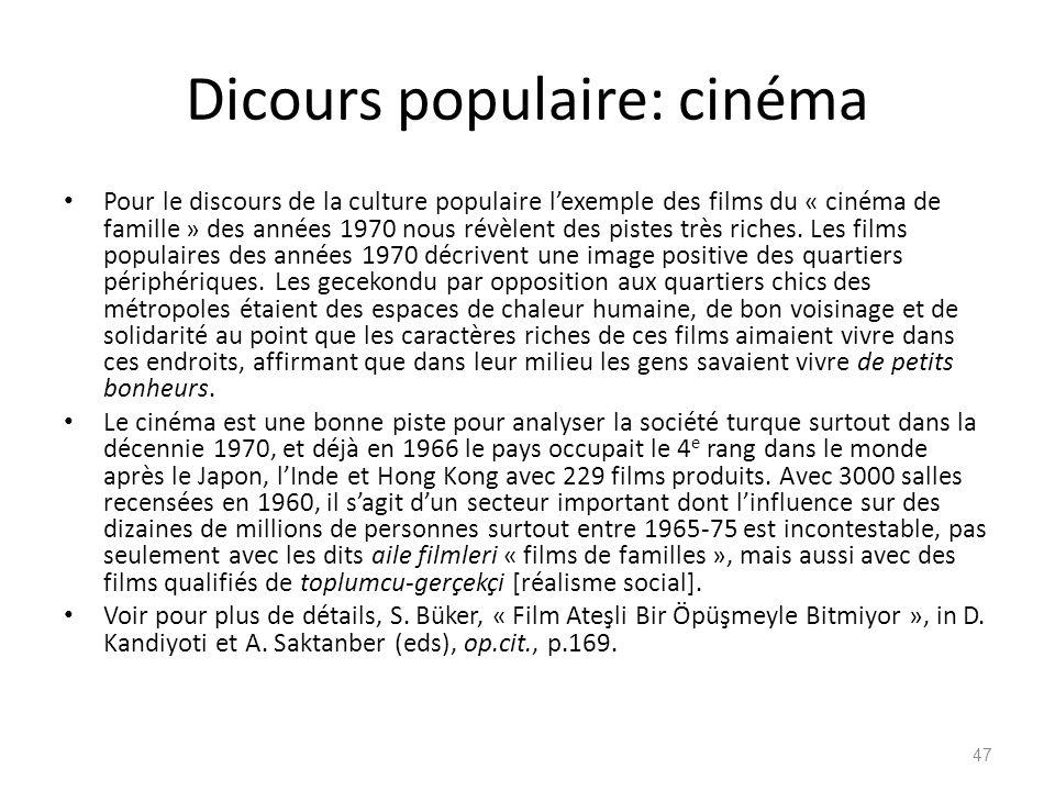 Dicours populaire: cinéma Pour le discours de la culture populaire lexemple des films du « cinéma de famille » des années 1970 nous révèlent des piste