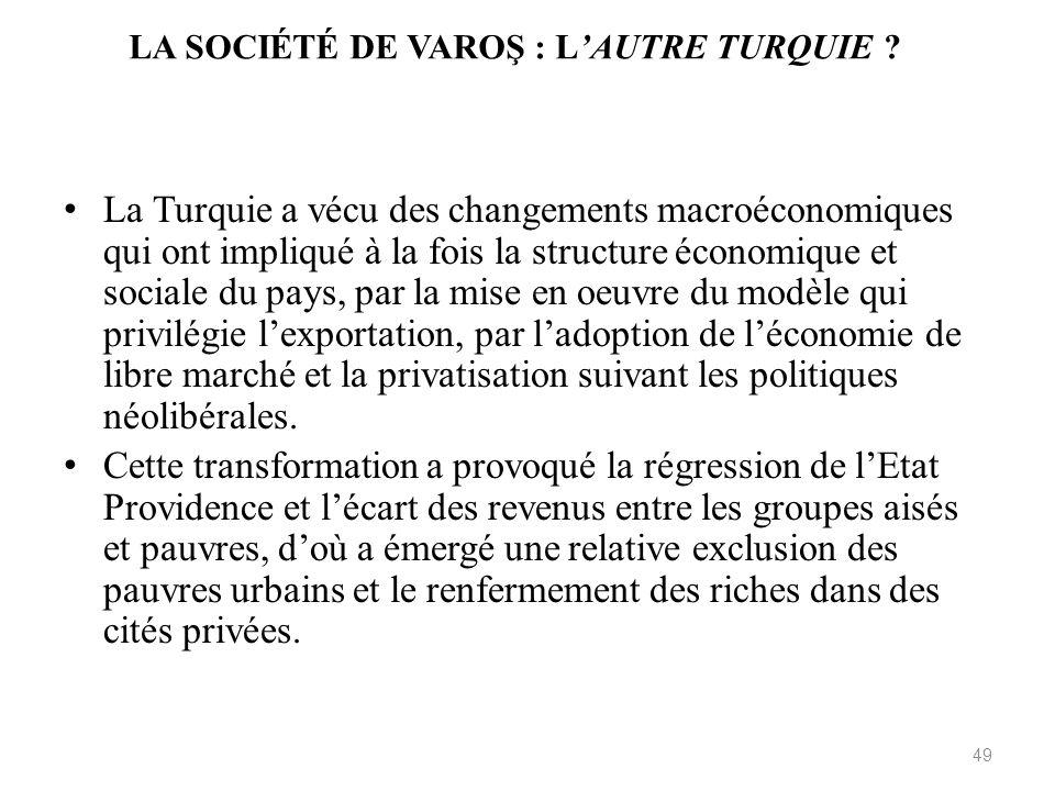 LA SOCIÉTÉ DE VAROŞ : LAUTRE TURQUIE ? La Turquie a vécu des changements macroéconomiques qui ont impliqué à la fois la structure économique et social