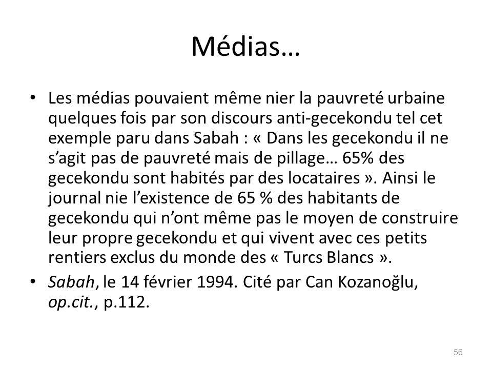 Médias… Les médias pouvaient même nier la pauvreté urbaine quelques fois par son discours anti-gecekondu tel cet exemple paru dans Sabah : « Dans les