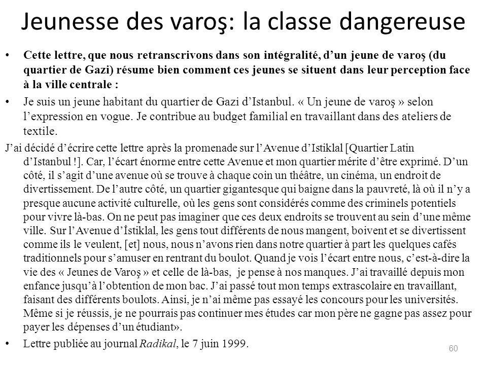 Jeunesse des varoş: la classe dangereuse Cette lettre, que nous retranscrivons dans son intégralité, dun jeune de varoş (du quartier de Gazi) résume b