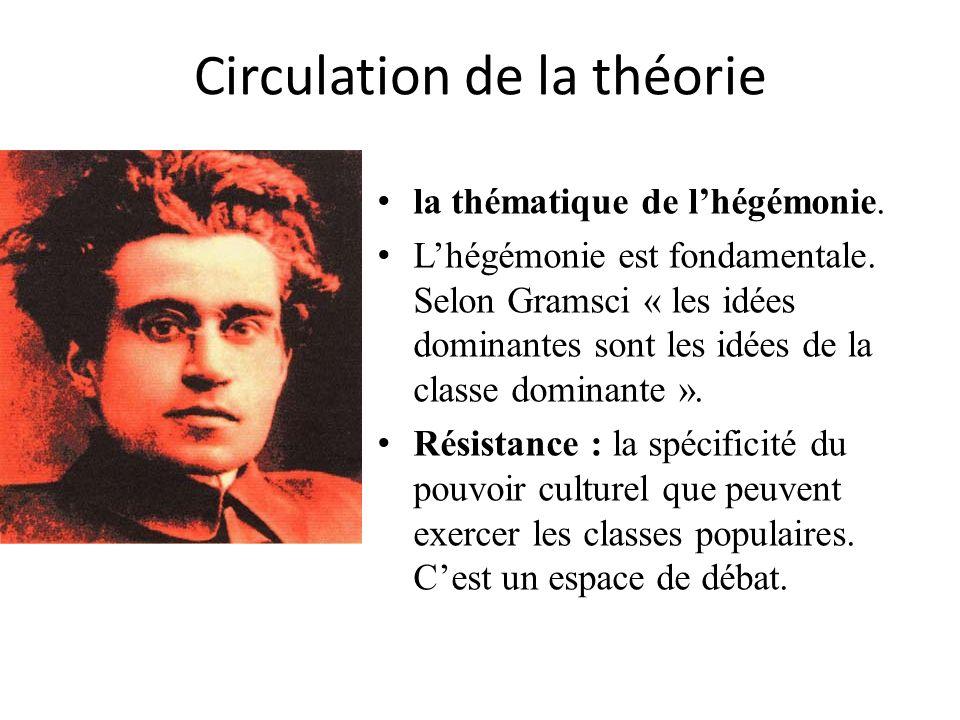 Circulation de la théorie la thématique de lhégémonie. Lhégémonie est fondamentale. Selon Gramsci « les idées dominantes sont les idées de la classe d
