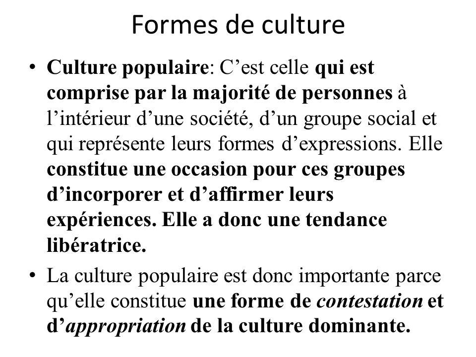 Formes de culture Culture populaire: Cest celle qui est comprise par la majorité de personnes à lintérieur dune société, dun groupe social et qui repr