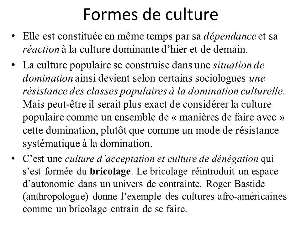 Formes de culture Elle est constituée en même temps par sa dépendance et sa réaction à la culture dominante dhier et de demain. La culture populaire s