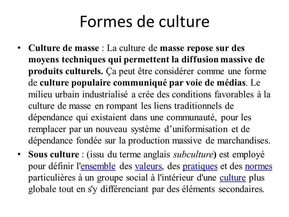 Formes de culture Culture de masse : La culture de masse repose sur des moyens techniques qui permettent la diffusion massive de produits culturels. Ç